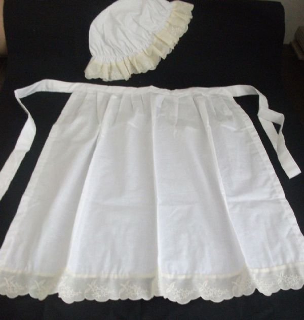 CHILDS WHITE GIRLS WAITRESS APRON PINNY MOP HAT VICTORIAN  EDWARDIAN  fancydress